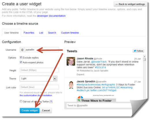User Timeline Widget