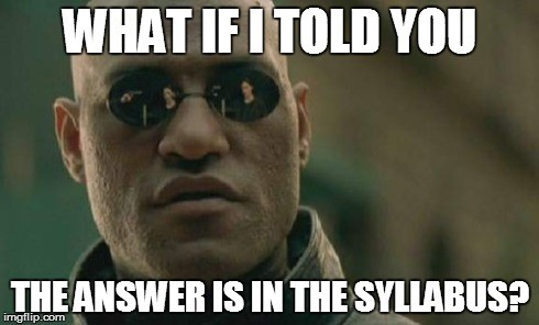 Image result for syllabus memes